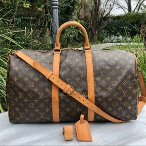 💯LV Keepall Bandouliere 50 •W/STRAP & ACCESSORIES